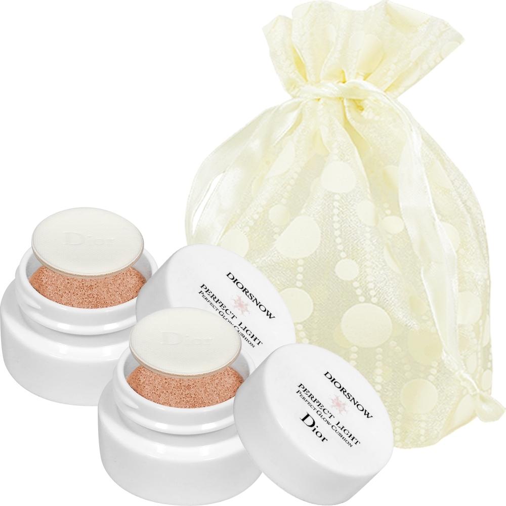 Dior 迪奧 雪晶靈粉嫩光氣墊粉餅精巧版 C07 4g 2入旅行袋組