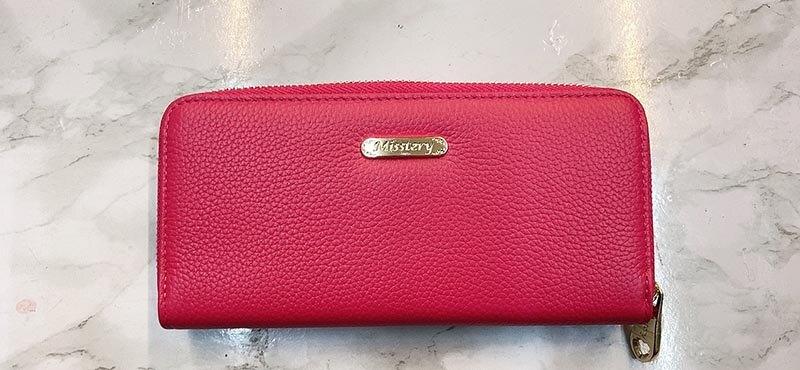 【Misstery】桃紅色真皮扣式拉鍊長夾女夾-台南現貨免運