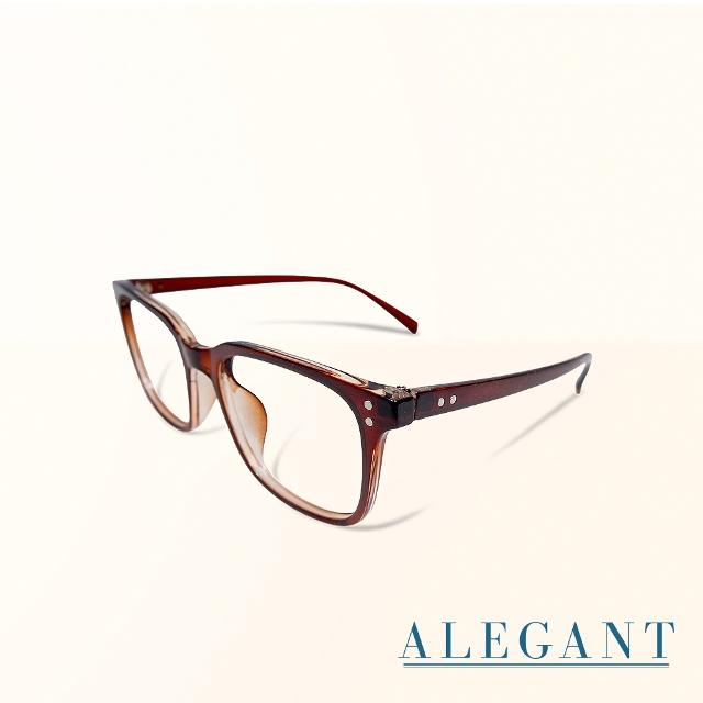 【ALEGANT】日系都會簡約設計金屬裝飾淺棕UV400輕量TR90方框濾藍光眼鏡