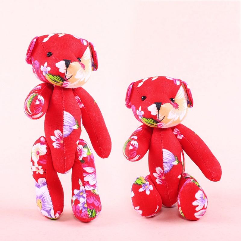 客家大紅花布小熊 10隻一組 婚禮小物 手工製作 台灣文創 小熊家族 絨毛玩偶專賣店
