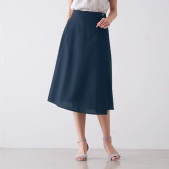 リネンライクラップ風スカート ネイビー S M L LL 3L