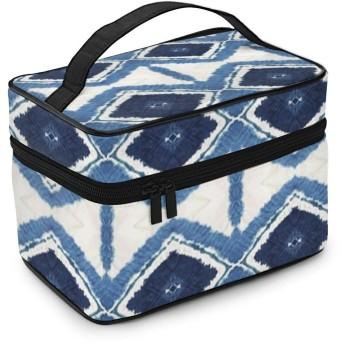 女性用化粧品バッグインディゴバティック水彩シェブロンストライプひし形トライアングル大容量メンズ収納バッグウォッシュバッグアウトドア用
