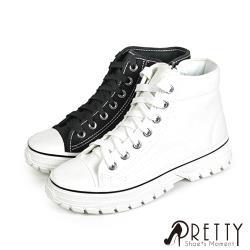 Pretty 奶油頭側拉鍊綁帶高筒帆布休閒鞋/小白鞋N-29001