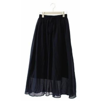 【中古】ナチュラルビューティーベーシック NATURAL BEAUTY BASIC スカート ロング フレア S 紺 ネイビー