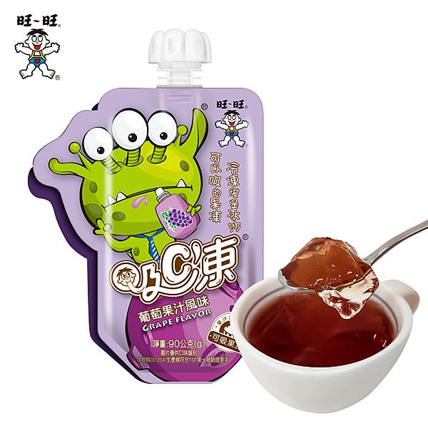 旺旺 吸C凍葡萄果汁風味(90G*6入) 蒟蒻 果凍 冰沙 消暑 低卡 兒童點心 卡通外星人 罐裝造型飲料