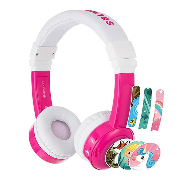 buddyPHONES 兒童安全耳機/可通話/可收折 (飛行折疊 InFlight ) 附收納袋 草莓粉