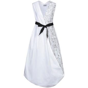 《セール開催中》BALOSSA レディース 7分丈ワンピース・ドレス ホワイト 40 コットン 100%
