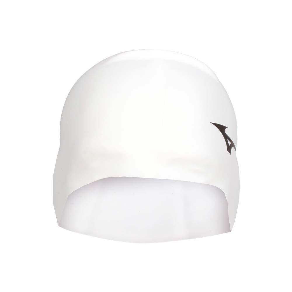 MIZUNO SWIM 矽膠泳帽-游泳 戲水 海邊 沙灘 美津濃 白黑 F