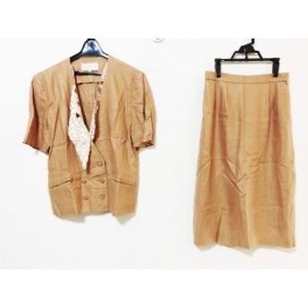 ラピーヌブランシュ lapine blanche スカートスーツ サイズ11 M レディース ブラウン×白 半袖/ダブル【中古】