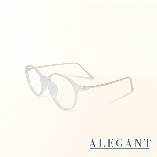 【ALEGANT】韓星時尚網紅復古透視TR90輕量圓框金屬鏡腳UV400濾藍光眼鏡