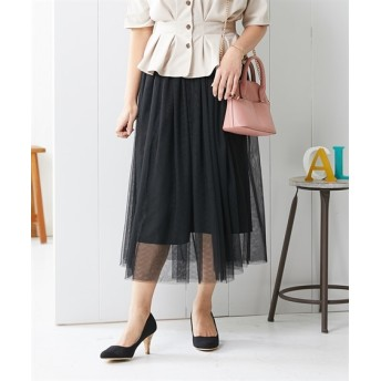 小さいサイズ チュールロングスカート 【小さいサイズ・小柄・プチ】ロング丈・マキシ丈スカート, Skirts