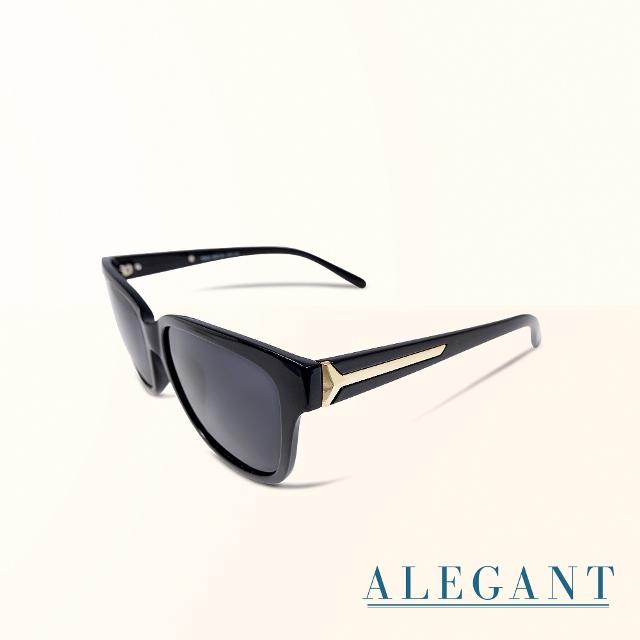 【ALEGANT】極簡風純黑方框寶麗來偏光墨鏡/UV400太陽眼鏡
