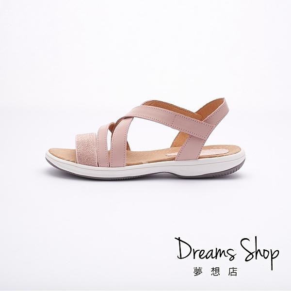 大尺碼女鞋 夢想店 MIT台灣製造三色拼接超輕量羅馬平底涼鞋2.5cm(41-47)【JD209】粉色