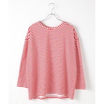 TABASA/タバサ 接結ボーダードロップショルダー8分丈Tシャツ シロ*アカ F