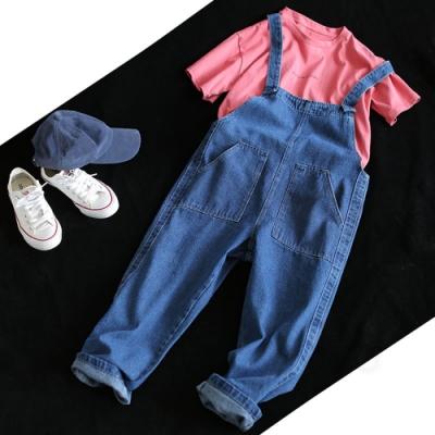 寬鬆顯瘦純棉牛仔背帶褲直筒九分褲-設計所在