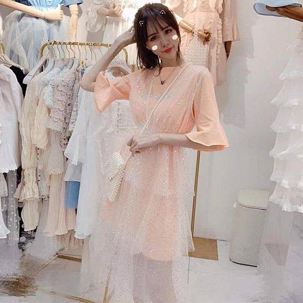新款燙鉆T恤女仙女裙學生網紗蛋糕裙子洋裝 琪朵市集