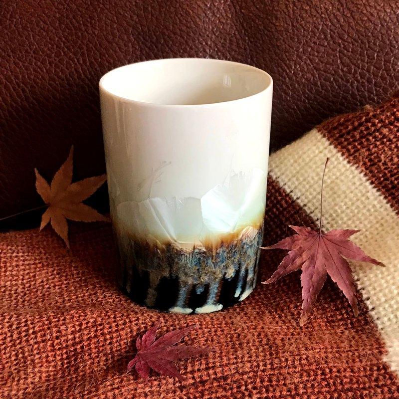 台灣製造 晶花系列 結晶釉杯(淺綠)