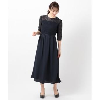 L size ONWARD(大きいサイズ)/エルサイズオンワード 【洗える】エンパイアレーシー ドレス ネイビー 4