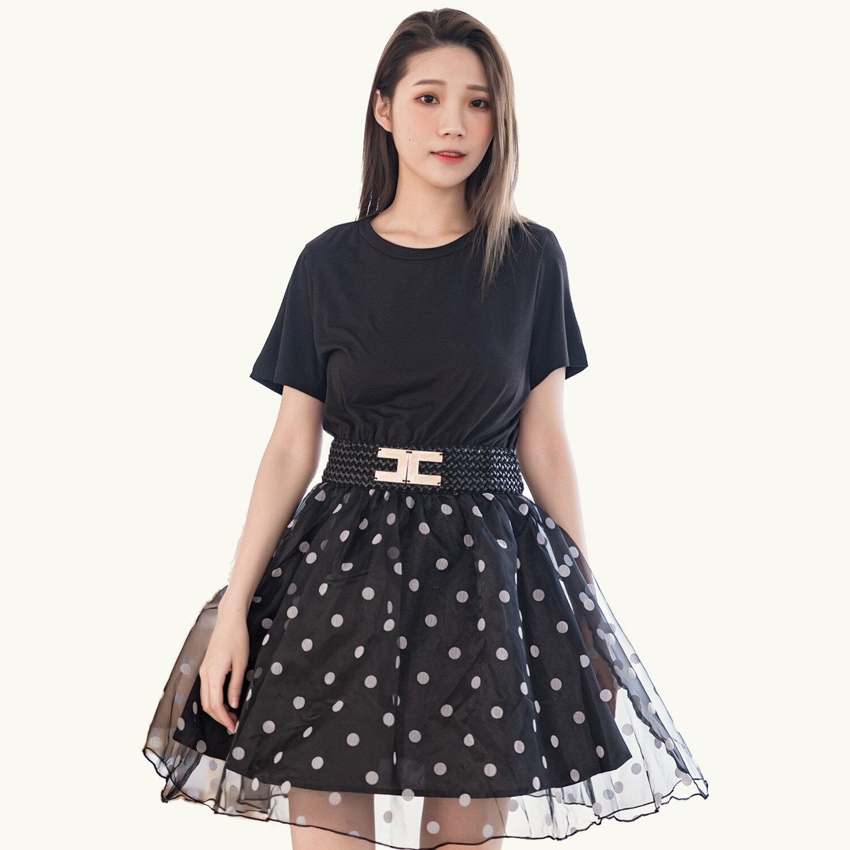 連身裙--甜美普普風編織腰帶拼接大圓點紗裙圓領短袖連身洋裝(黑XL-5L)-D369眼圈熊中大尺碼