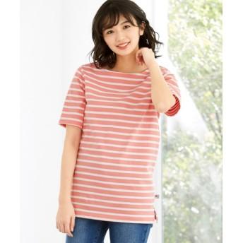 【大きいサイズ】 (抗菌防臭加工)綿100%ボーダーボートネックバスクシャツ(USAコットン使用) plus size T-shirts, テレワーク, 在宅, リモート