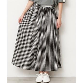【20春夏】麻混ロングスカート ギンガム。ストライプ (ロング丈・マキシ丈スカート)Skirts