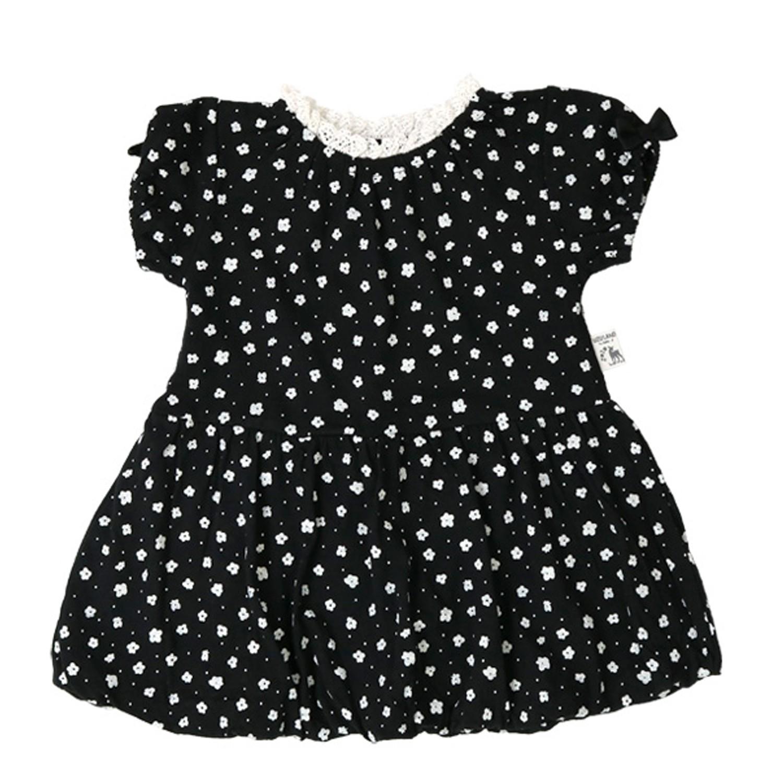 日本 ZOOLAND - 印花短袖洋裝-B滿版黑白小花-黑