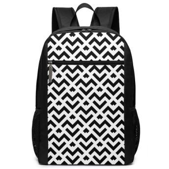 Black And White Stripe Line バックパック 男女兼用 おしゃれ 通勤 通学 旅行 出張 ビジネスリュック 17インチ PC リュック Backpack