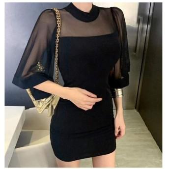 Jtydj 春のメッシュステッチバットミッドスリーブスリムパックヒップドレス (色 : ブラック, サイズ : L)