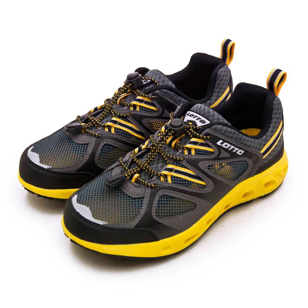 【男】LOTTO 多功能戶外休閒運動水陸兩用鞋 探索山林系列 灰黑黃 2000