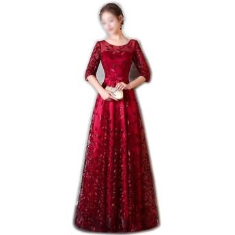 Jtydj レディースビーズラウンドネックロングスリーブレッド宴会ファッションイブニングウェディングドレス (色 : ワインレッド, サイズ : M)