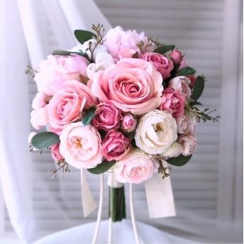 ピンクのウエディングブーケ ピオニーとローズ 《送料無料》