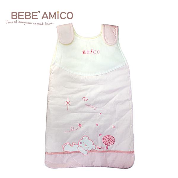 bebe Amico-樂活田園防踢睡袍-粉紅