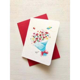 母の日 2枚セット 「カーネーションの花束」水彩画イラスト ミニカード 母の日カード 花