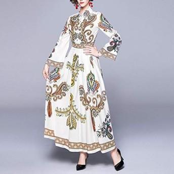 服装やアクセサリー ドレス CZスピーカースリーブラペル長袖の薄いレトロプリントシャツ新郎(カラー:ブラックサイズ:M) (色 : 白, サイズ : One Size)