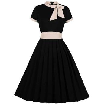 女性のプリーツ襟大きなスイングスカートボウプラスサイズのドレス さまざまな機会に適しています (Color : Black, Size : XXL)