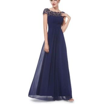 女性の半袖ドレスセクシーなレースルーズカジュアルロングエレガントなドレス シンプルな (色 : ブルー, サイズ : M)