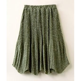 スカート ひざ丈 大きいサイズ レディース デシン 変形ドット 裾 アシメ消し プリーツ ESTACOT オフホワイト系/グリーン系 LL/3L ニッセ
