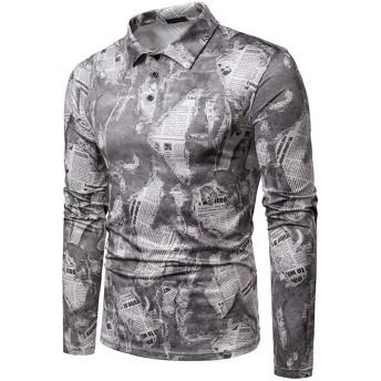 ドレスシャツ メンズ 男性の落書きプリントポロトップス長袖ラペルネックバッキングシャツ大人の快適さソフトボタンシャツ用ディスコパーティー宴会 男性用 (Color : Gray, Size : S)
