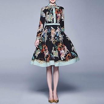 服装やアクセサリー ドレス CZレトロ宮殿の印刷スリム想起セクションプルーム(カラー:ブラックサイズ:M) (色 : ブラック, サイズ : One Size)