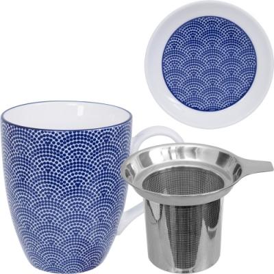 《Tokyo Design》附蓋濾茶馬克杯(點扇藍325ml)