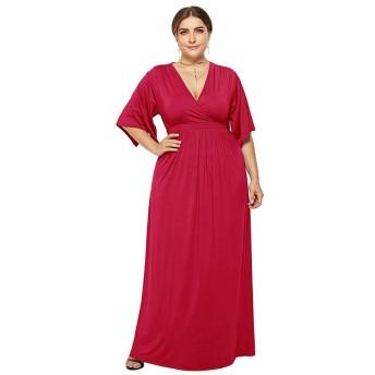 女性の半袖ドレスルーズカジュアル大型妊婦ドレス シンプルな (色 : 赤, サイズ : M)