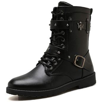 [ドドシューズ] レースアップ ワークブーツ メンズ ビジネス 紳士靴 エンジニアブーツ おしゃれ ポインテッドトゥ ブーツ メンズブーツ 編み上げブーツ ブラック ロング丈 バイクブーツ ライダース 男性 ショートブーツ ドレープブーツ 靴 25.0cm 春服 春