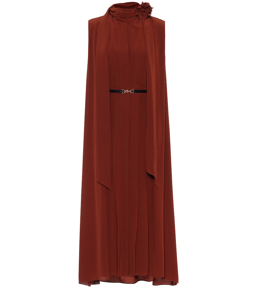 Sleeveless scarf silk midi dress