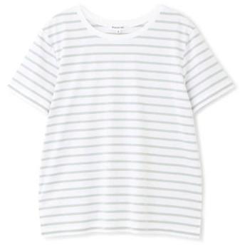 【公式/NATURAL BEAUTY BASIC】【先行予約4月中旬-下旬入荷予定】ベーシックボーダー半袖Tシャツ/女性/Tシャツ/オフ×ミントグリーンボーダー/サイズ:M/コットン 100%