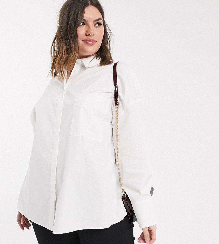 ASOS DESIGN Curve long sleeve boyfriend shirt in white