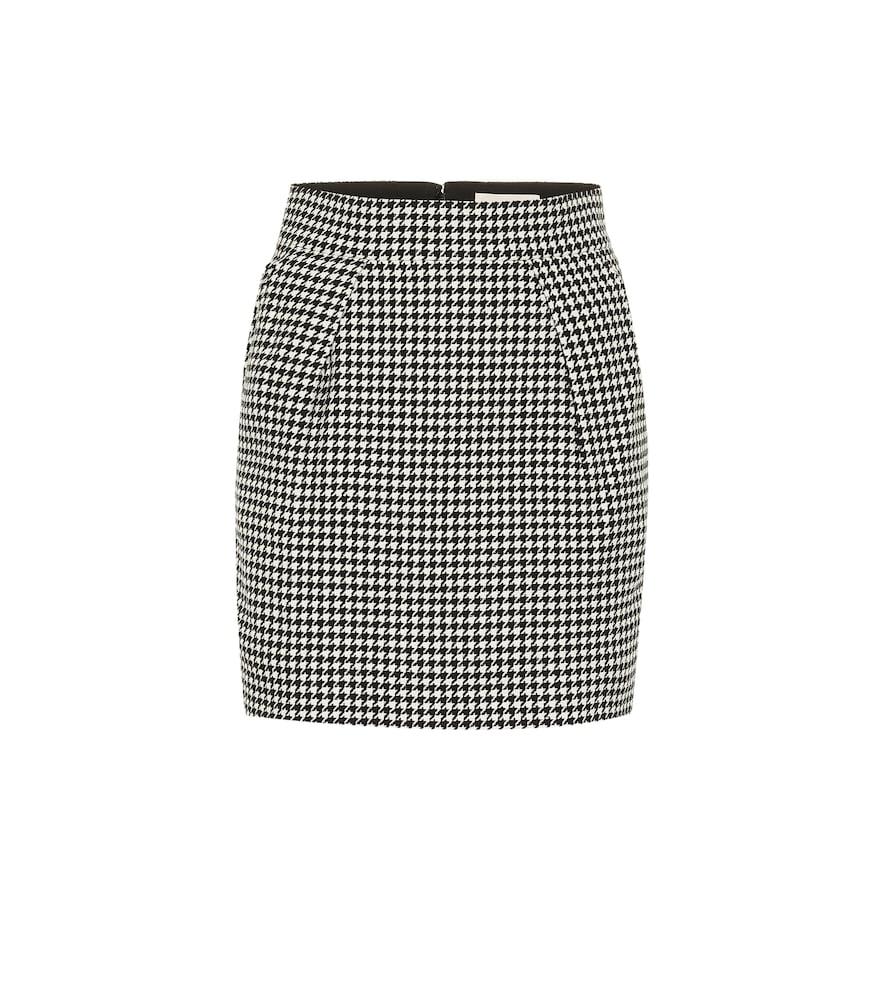 Houndstooth cotton-blend miniskirt