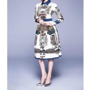 服装やアクセサリー ドレス CZ洗練されたレトロドレス(:として表示サイズ:S色)スイングビッグを印刷します (色 : As Show, サイズ : One Size)
