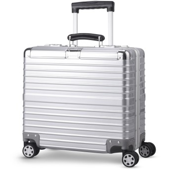 TABITORA(タビトラ) 訳あり スーツケース 中古品 小型 超軽量 アルミフレーム キャリーバッグ 機内持ち込み ビジネス出張 TSAロック シルバー 静音 8輪