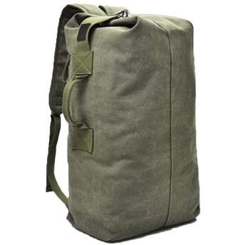 リュックアウトドア旅行バケットリュックキャンバス登山男性スーパーファイアーパーソナリティ大容量ラゲッジバッグ (Color : Green, Size : M)