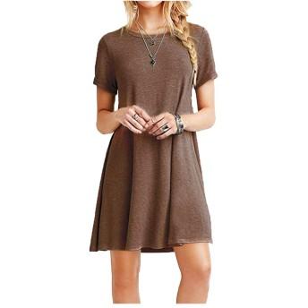 ドレス女性ファッションスリムカジュアルスカート半袖XLコード1504